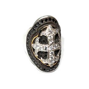 Silver, 18kt gold, Black & White Diamond Cross Shield Ring