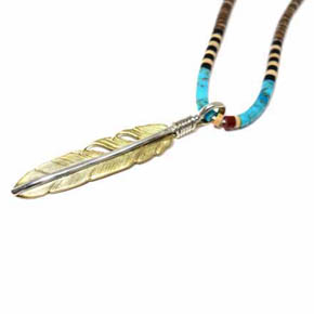 Silver & Brass Feather Pendant
