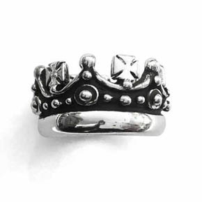 Silver Crown & Crosses Men's Ring