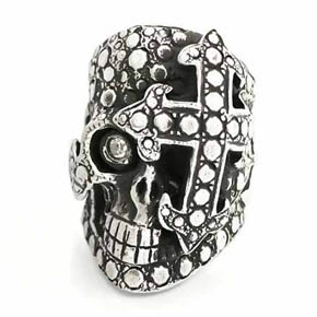 Silver & Diamond Skull Men's Ring