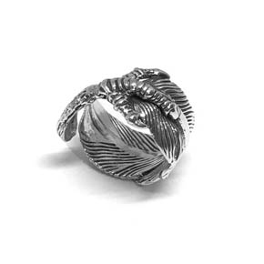 Silver Eagle Feather Claw Ring