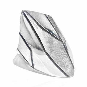 Silver Geometric Men's Ring