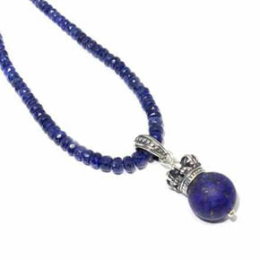 Limited Edition Silver & Matte Lapis Crown Pendant