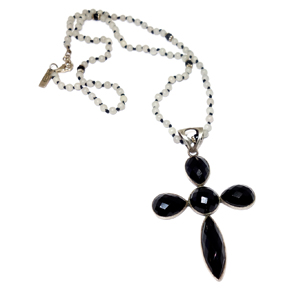 Silver & Onyx Cross Pendant on Agate, Onyx, & Silver Necklace