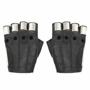 Majesty Black Silver Plated Black Leather Men's Armor Gloves