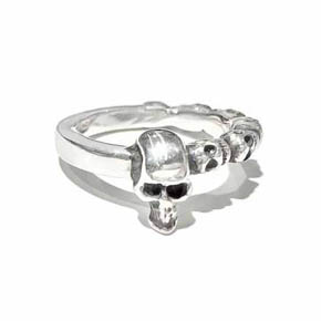 Silver Repeating Skull Men's Ring