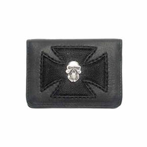Silver Skull and Black Sting Ray Maltese Cross Credit Card Holder
