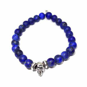 Limited Edition Silver Skull & Matte Lapis Beaded Bracelet