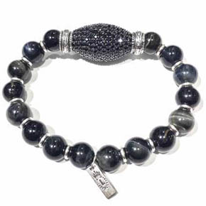 Silver, Spinel Pave & Tiger's Eye Beaded Men's Bracelet