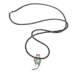 Silver & Turquoise Horn Pendant on Silver Bead Necklace