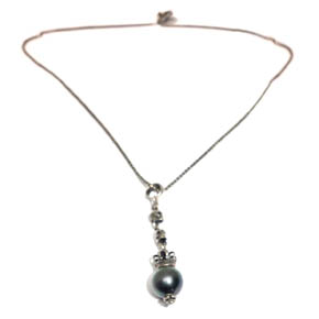South Sea Pearl & Sterling Silver Mini Skull Pendant