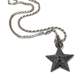 Sterling Silver & Black Diamond Star Pendant