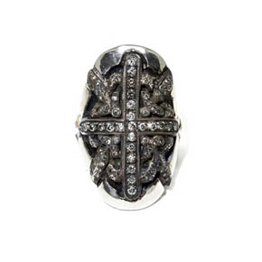 Sterling Silver & Grey Diamond Shield Ring