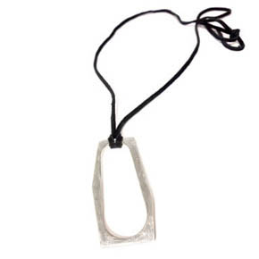 Sterling Silver Pendant on Leather Necklace