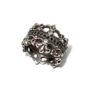 Sterling Silver, Ruby, Black & White Diamond Crown Ring