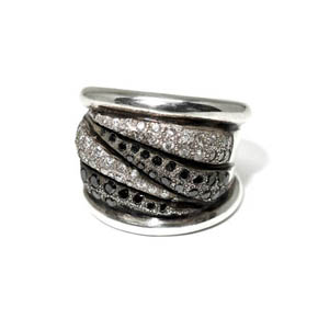 Sterling Silver with Black & White Diamond Ring