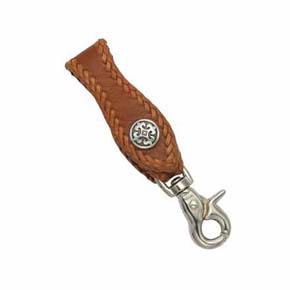 Tan Leather and Fleur-De-Lis Men's Key Fob