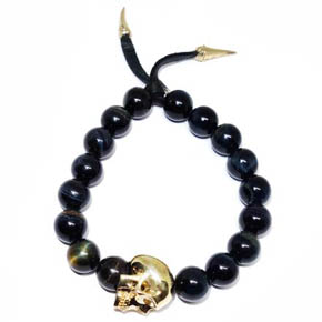 Tiger's Eye and Brass Skull Bracelet