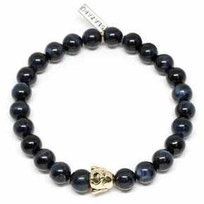 Tigers Eye & 18KT Gold Buddha Men's Bracelet
