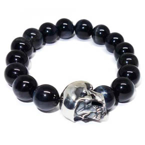 Tiger's Eye & Bronze Skull Leather Bracelet