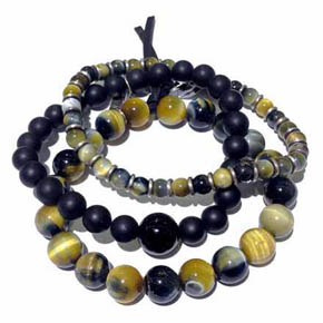 Tiger's Eye & Onyx Men's Stacked Bracelets
