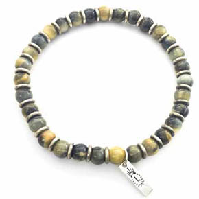 Tigers Eye & Silver Men's Beaded Men's Bracelet