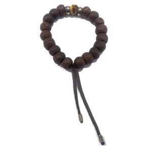 Tigers Eye, Silver & Tibetan Wood Men's Bracelet