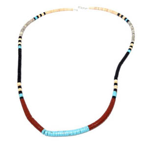 Turqoise, Agate, & Shell Peacepipe Necklace