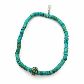 Turquoise & Bronze Men's Beaded Bracelet
