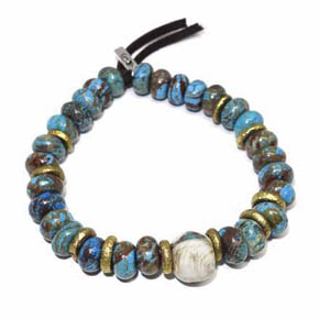 Turquoise, Brass & Conch Shell Men's Beaded Bracelet