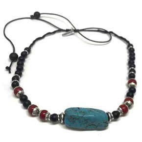 Turquoise, Coral & Onyx Beaded Necklace