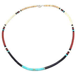 Turquoise, Coral, & Silver Necklace