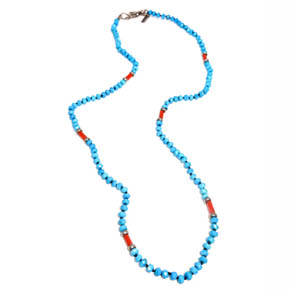 Turquoise, Italian Coral, & Sterling Silver Necklace