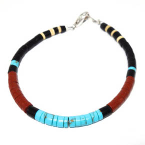 Turquoise, Shell, & Agate Peacepipe Bracelet