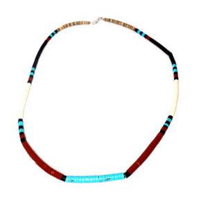 Turquoise, Shell, & Agate Peacepipe Necklace