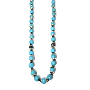 Turquoise, Silver, & Sapphire Necklace