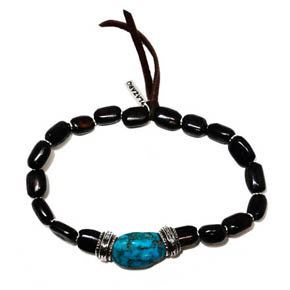 Turquoise, Silver & Wooden Bead Bracelet