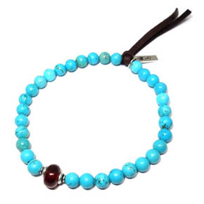Turquoise, Sterling Silver, Garnet, & Leather Bracelet