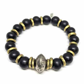 Wood & Hammered Brass Men's Beaded Bracelet
