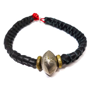 Woven Leather & Bronze Bracelet