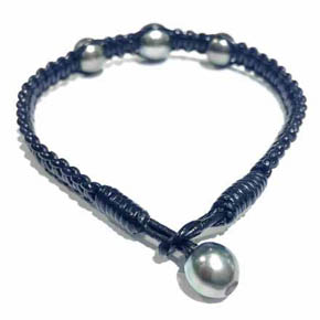 Woven Leather & South Sea Pearl Men's Bracelet